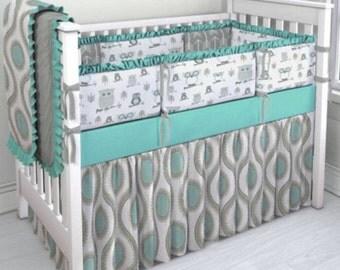 Teal and Gray Owl 4 piece crib bedding set