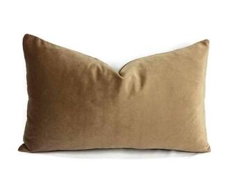 "19.5"" x 12"" Schumacher Sofia Velvet in the color Antelope Lumbar Pillow Cover"