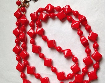 Oval Shape Vintage Red Glass Bead Necklace - 30 Inch Single Strand