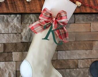 White Christmas Stocking // Green Christmas Stocking // Dog Bone Christmas Stocking // Creme Christmas Stocking // Custom Stocking