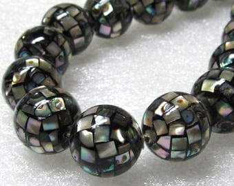 16mm Paua Mosaic Abalone Shell Pearl Round Beads - 12 Pieces