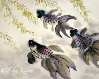 Fish & Leaves ORIGINAL ART Asian Brush Painting on Rice Paper