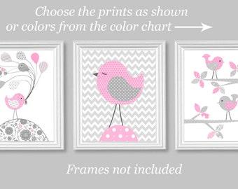 Grey and Pink, Nursery Wall Art, Bird Nursery Decor, Baby Girl Decor, Baby Room Art, Bird Canvas Prints, Baby Art Prints, Nursery Canvas Art