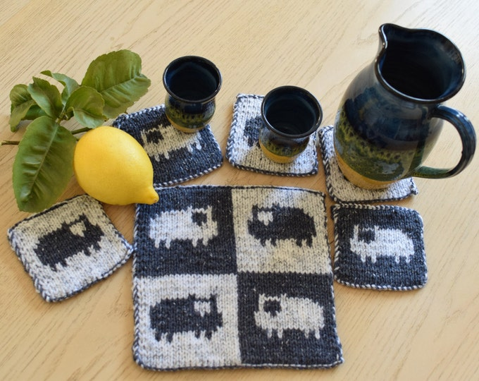 Knitting pattern for coasters, Sheep coasters and place setting pattern, knitting pattern table mat and coasters, handmade knitted gift