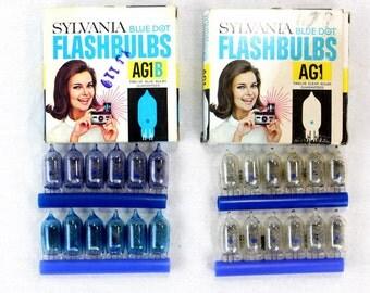 2 Complete Boxes Vintage AG1 and AG1B Sylvania Blue Dot Flashbulbs