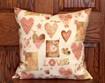 Valentines Day Pillow - Valentines Day Decor - Pink Pillow - Pink and Cream Pillow - Valentines Pillow Cover - Love Pillow - 16x16 pillow