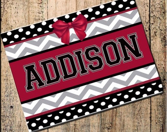 "Personalized Place mat, Chevron Polka Dot, Crimson Black Gray 16"" x 10"" Fabric Top, rubber backing, heat resistant, absorbs moisture"