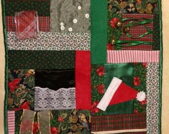 Santa's Hat Fidget Quilt  / Sensory Blanket / Busy Blanket / Christmas gift for restless hands