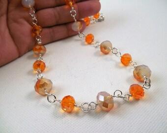 Orange Crystal Necklace