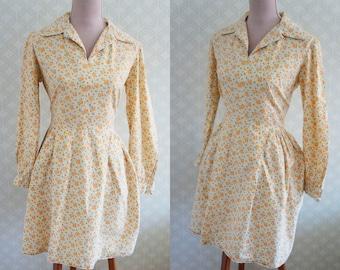 70s Vintage Peasant preppy vintage dress. Yellow floral print small vintage dress.
