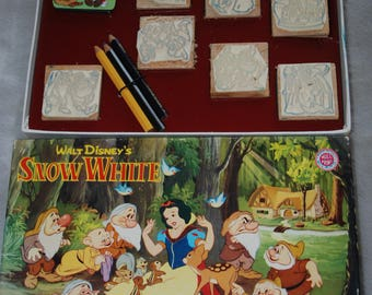 Vintage Disney Snow White and the seven dwarfs  7 wood backed rubber stamps