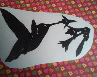 Humming Bird Decal/Humming Bird/Bird Decal?Bird Window Decal/Flower Decal