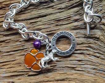 Clemson Tigers toggle charm bracelet with tiger paw, sterling silver tiger charm, and purple pearl bead: Clemson silver jewelry