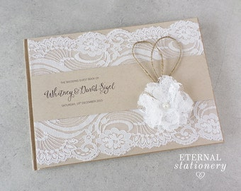 "Rustic Wedding Guest book, Hardcover - ""Whitney"""