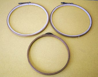 Set of 3 vintage embroidery hoops