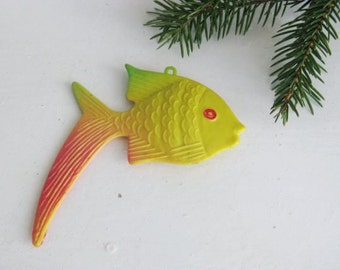 Vintage Soviet Christmas tree decoration, Plastic Fish Christmas ornaments, Retro Tree decoration, Made in USSR