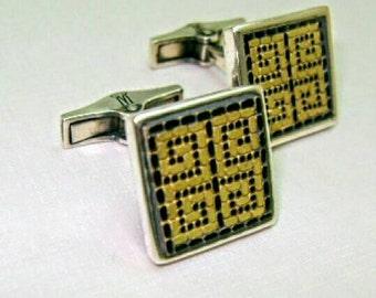 Mosaic cuff links,Greek key,Meander