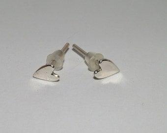Sterling Silver Heart Shaped Studs, Heart Stud Earrings, Silver Heart Studs