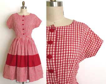 vintage 1950s dress | 50s gingham cotton day dress