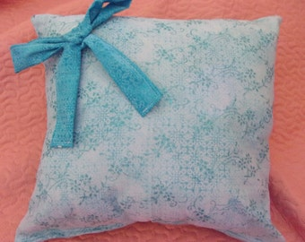 Pretty Princess Pillow with White and Aqua (with bow) Glitter Embellishments Great Gift 13x13