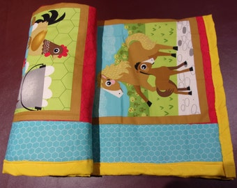 """Oink A Doodle Moo Farm Print Quilted Baby Blanket Crib Bedding Boy or Girl Cotton 31""""x39"""""""