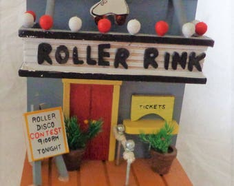 Folk Art Wooden House Roller Rink Skating Rink Dated 1979 Enesco 5 by 5 inches