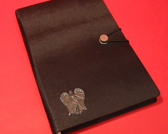 Guardian Angel Hand Cast Pewter Motif on A5 Black Journal Notebook Angel Themed Christmas Gift