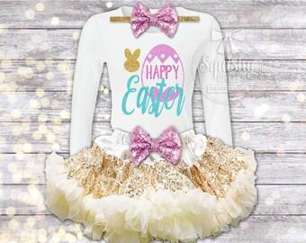 Girl's Easter Outfit, Easter Dress, Baby Girl Easter Outfit, Easter Shirt, Happy Easter Outfit, Sparkly Easter Dress, Sizes Newborn-8 Girls