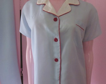 1950s Pale Blue Rayon Pajamas with Red Piping, Size M - L