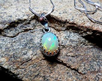 Ethiopian Opal Necklace,Bezel Set Welo Opal Necklace, Fine Jewelry, Oval Necklace, Sterling Silver Necklace
