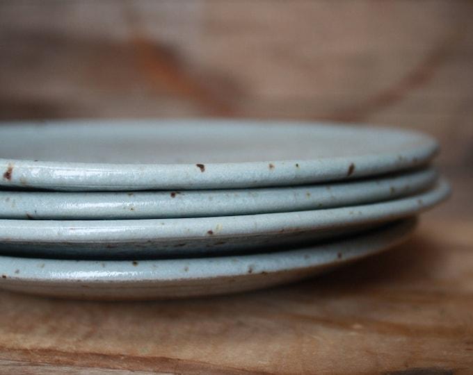 Set of 6 - Dinner Plates - Speckled Grey - KJ Pottery