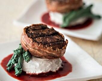 1:6 miniature - Bacon Wrapped Filet, Mashed Potatoes, Asparagus
