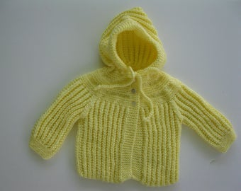 Hand Knitted Yellow Baby  Hooded Sweater Newborn to 3 mos. READY TO SHIP