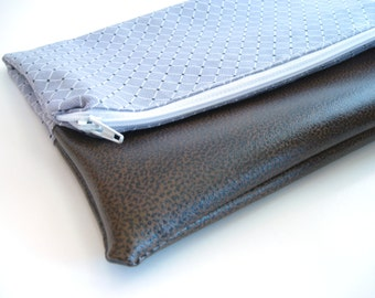 Fold Over Clutch -Small | Clutch Wallet | Clutch Handbag | Foldover Bag| Bridesmaid Gift| Grey Diamonds SMALL