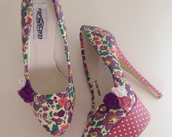 Floral shoes, quirky shoes, ladies shoes, liberty fabric, liberty floral heels, felt flowers, platform shoes size 3-8uk