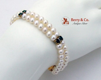 Two Strand Cultured Pearl Bracelet Emeralds Diamonds 14K Yellow Gold