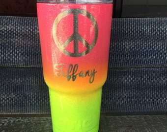 20 oz laser engraved and Powder Coated two tone ombré YETI,RTIC,Ozark tumblers