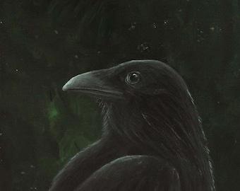 Raven Archival Art Print - Corvid Bird Art