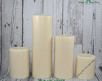 All Natural Vegan Soy 3.5 inch Pillar Candle , Scented or Unscented. Short Pillar.