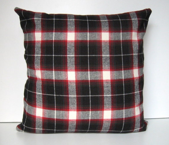 Red Plaid Throw Pillow Cover : Items similar to Plaid Flannel Pillow Covers, Buffalo Check Plaid, Throw Pillow, Home Decor ...