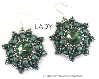 DIY ITA-ENG pdf pattern of the Lady earrings with Swarovski Rivoli, Superduo, half crystal, Rocaille