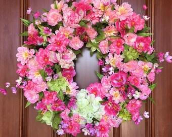 Spring Wreaths, Front Door Wreath, Wreaths, Spring Wreath for Front Door, Door Decoration, Spring & Summer Wreath, XL Wreath, Door Decor