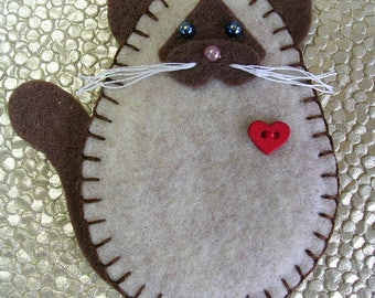 Cat Ornament, Siamese Cat Ornament, Felt Siamese Cat Ornament, Cat Christmas Ornament