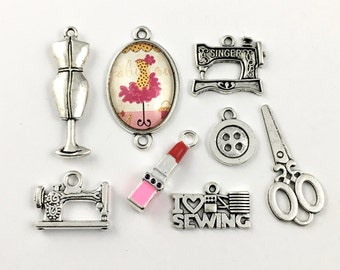 8 fashion designer charms silver tone 12mm to 36mm #CH 167-2