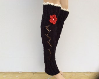 Leg Warmers with flower and crochet lace,SoftKnitted LegWarmersWomensboot cuffs, leg warmers Black  Color