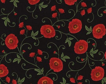 Floral Fabric by the Yard, Cotton, Quilt, Poppy, Poppies, Trellis, Red, Black, Green, Vine, Flower, Grove, WW1, Large Print, Decor,