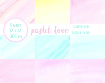 Pastel Digital Papers, Watercolor Pastel Digital Paper, Watercolor Washes, Watercolor Background, Watercolor Wallpaper, Digital Paper