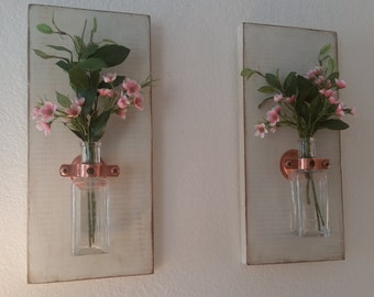 Distressed Wall Boards with Antique Glass Bottles and Pink Flowers Set of 2