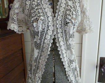 Antique Victorian Floral Irish Crochet Lace Jacket 1900's