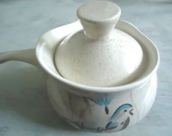 Red Wing Pottery Bob White Gravy Boat, Dinner Collectible, Mid Century Retro Home, Minnesota Pottery, Turquoise and Brown, Vintage Bird